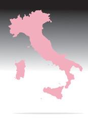 mappa mondo italia rosa