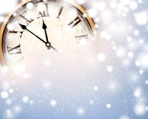 New year clock with snowy background.