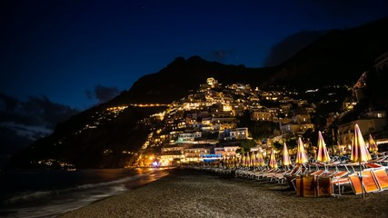 Positano Timelapse beach at night