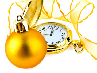 clock and christmas ornaments