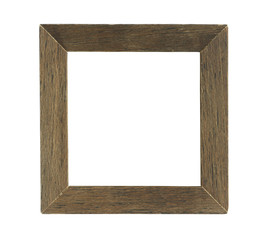 Simple Square Wooden Photo Frame isolated on white background