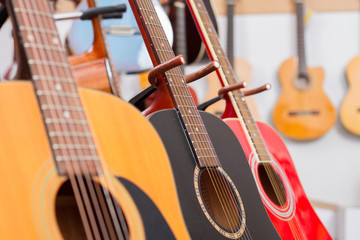 Close-up of guitars in a music shop