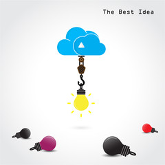 Flat cloud symbol and creative light bulb concept