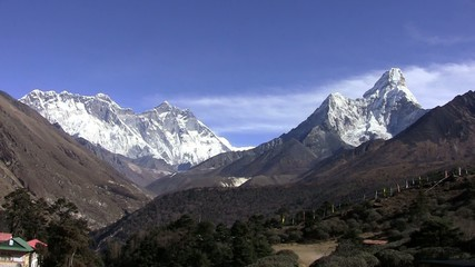 Tengboche monastery. Ama Dablam and Lhotse wall. Nepal.
