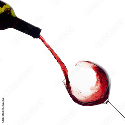 Wine. Glass and Bottle. Splash - 73093359