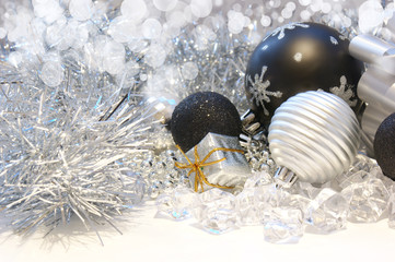Christmas background with tinsel and decorations