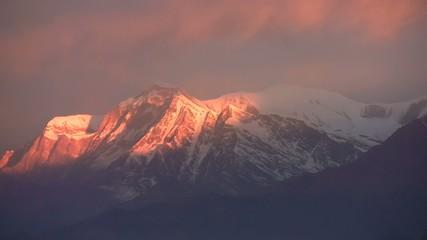 Panorama of Himalayas mountains at sunset. Nepal.