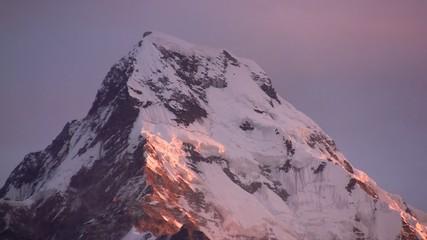 Sunset in Himalayas mountains.