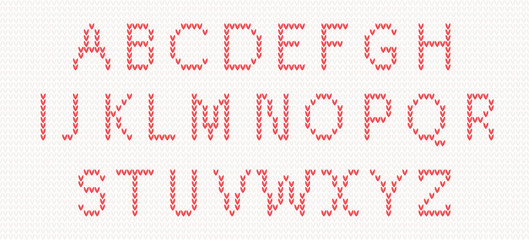 Christmas Knitted Font in red color. vector illustration