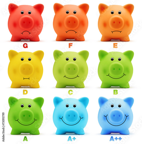 Leinwandbild Motiv scale class energy savings efficiency of colorful piggy bank