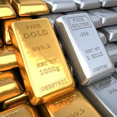 Silver ingot and  gold bullion. Finance illustration