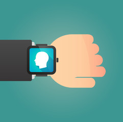 Hand with a smart watch displaying a head