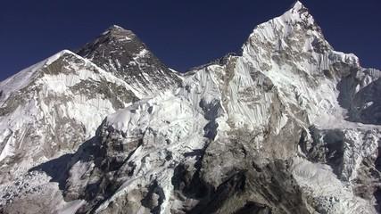 Panorama of Everest, Lhotse wall and Nuptse Peak. Nepal.