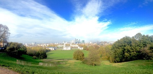 a wide view of the City in London from the Greenwich hill