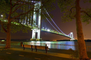 Night views of New York City, Verazzano Narrows Bridge.