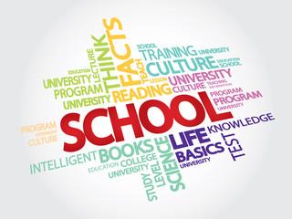 SCHOOL. EDUCATION. Word collage. Vector Illustration