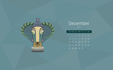 Calendar for 2015, the month of December, the year of the goat.