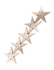 Five silver Stars isolated over white background