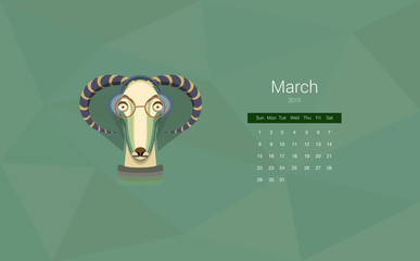 Calendar for 2015, the month of March, the year of the goat. All
