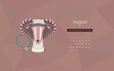 Calendar for 2015, the month of August, the year of the goat.