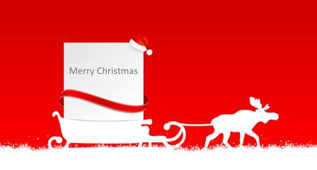 Weihnachten Schild Schlitten Elch