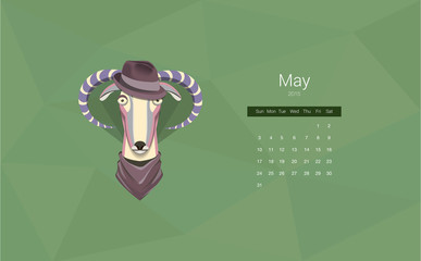 Calendar for 2015, the month of May, the year of the goat. All