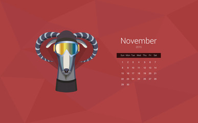 Calendar for 2015, the month of November the year of the goat.