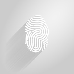 Letter P logo icon fingerprint style and long shadow