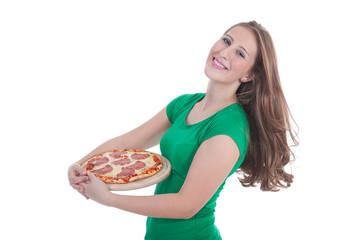 Junge sympathische Frau ist glücklich mit frischer Pizza