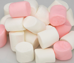Pile of marshmallow , isolated on light background