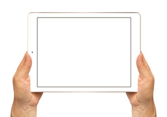 White tablet in woman's hands isolated on white.