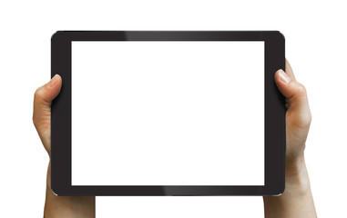 Black tablet in woman's hands isolated on white
