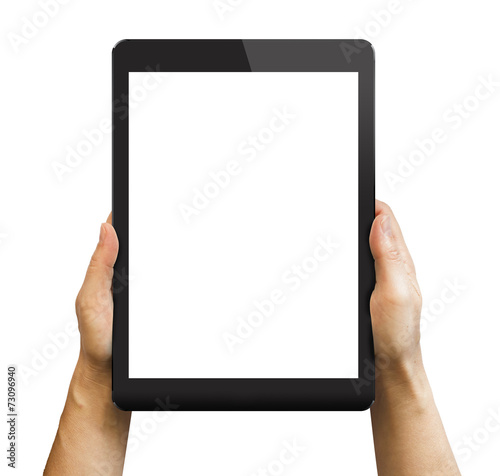 Black tablet in woman's hands isolated on white - 73096940