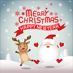 Merry christmas and happy new year, santaclaus and rudolph