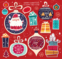 Christmas vector illustration with Santa Claus