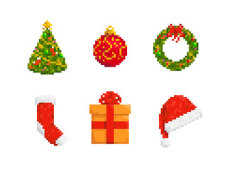 Collection of Christmas stuff, pixel art style