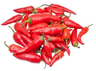 pods of fresh red chili peppers isolated