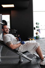 Muscular man on Bench press