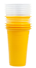 stack of yellow and transparent plastic cups