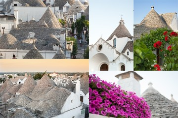 Postcard of Trulli, the typical old houses in Alberobello.