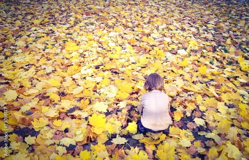 canvas print picture child playing in the autumn leaves
