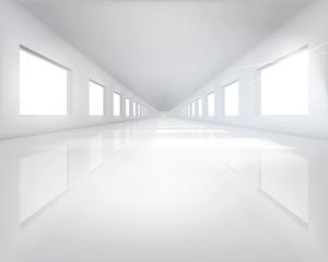 Long hall. Vector illustration.