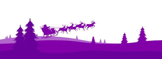 Weihnachskarte, Panorama, Weihnachtsmann, Santa, Rudolf, Xmas