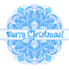 Snowflake Merry Christmas vector card