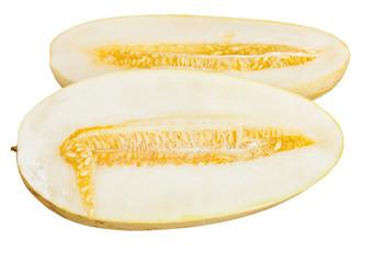 two halves Uzbek-Russian Melon isolated on white