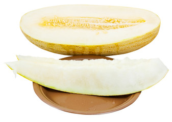 two slices and Uzbek-Russian Melon on plate