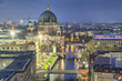 canvas print picture - Berlin Cathedral and three bridges across the Spree River