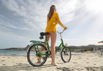 Ready to ride a bike on the sand