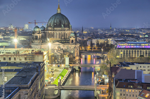 canvas print picture Berlin Cathedral and three bridges across the Spree River