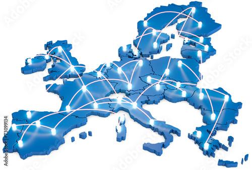 Leinwandbild Motiv EU Netzwerk